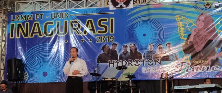 Ir. Djoko Raharjo, MP selaku Rektor Universitas Kadiri menyampaiakan membuka acara malam Inagurasi LKMM Fakultas Teknik 2019
